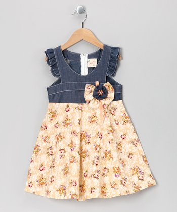 Yellow Floral Angel-Sleeve Dress - Toddler & Girls