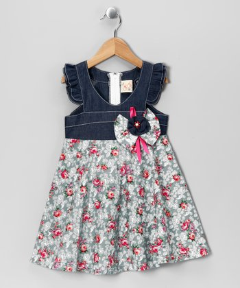 Gray Floral Angel-Sleeve Dress - Toddler & Girls