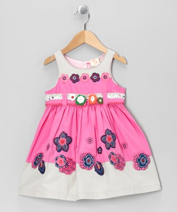 Pink & Gray Flower Babydoll Dress - Toddler & Girls