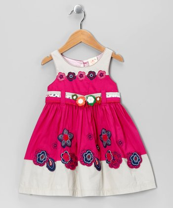 Hot Pink & Gray Floral Babydoll Dress - Toddler & Girls