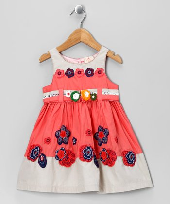 Coral & Gray Flower Babydoll Dress - Toddler & Girls