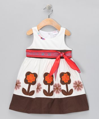 White & Brown Flower Bow Dress - Infant, Toddler & Girls