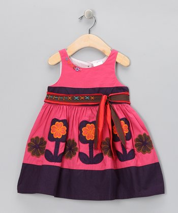 Faded Pink & Purple Flower Bow Dress - Infant, Toddler & Girls