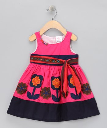 Hot Pink & Navy Flower Bow Dress - Infant, Toddler & Girls