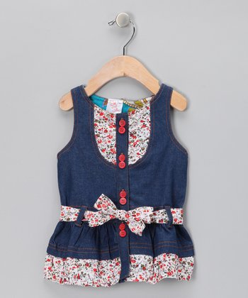 Denim & Red Floral Belted Dress - Infant, Toddler & Girls
