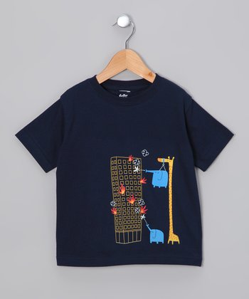 Navy The Fire Brigade Went on Strike Tee - Toddler