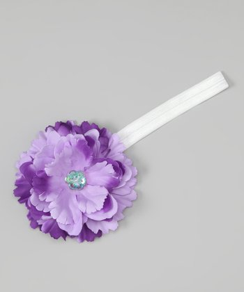 White & Purple Flower Headband