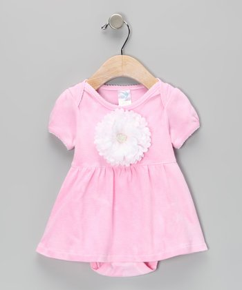 Pink & White Flower Skirted Bodysuit
