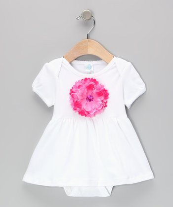 White & Hot Pink Flower Skirted Bodysuit