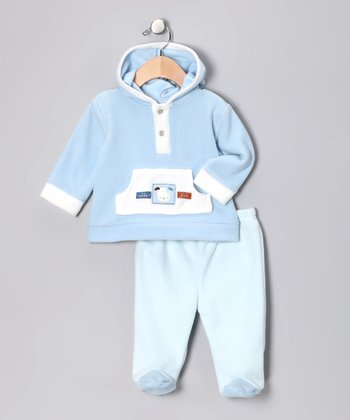 trés beau&belle Layette Blue Hoodie & Footie Pants - Infant