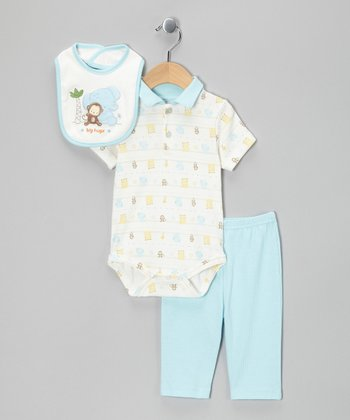 Blue Monkey & Elephant Bodysuit Set