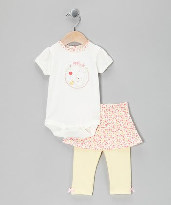 White & Pink Bunny Bodysuit & Skirted Leggings