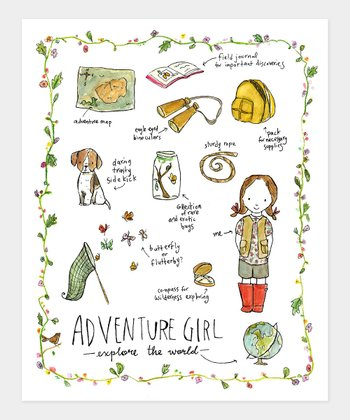 Brown-Haired Adventure Girl Print
