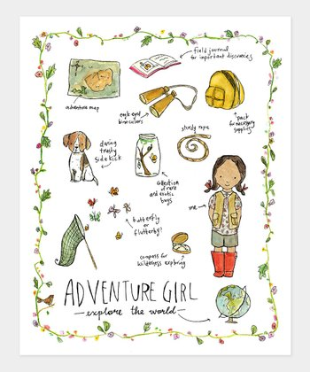 Black-Haired Adventure Girl Print