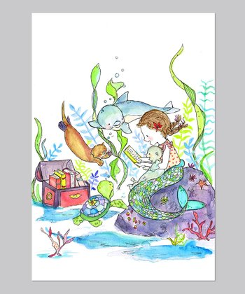 Limited Edition Brown-Haired Mermaid Book Club Print