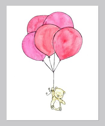 Pink Polar Bear Balloon Print