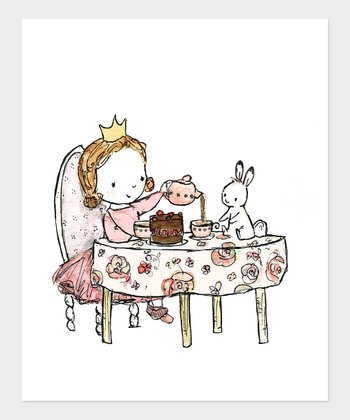 Light Brown-Haired Girl Royal Tea Party Print