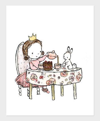 Brown-Haired Girl Royal Tea Party Print