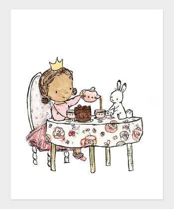 Dark Brown-Haired Girl Royal Tea Party Print
