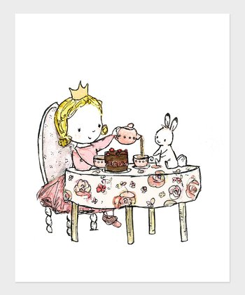 Blonde Girl Royal Tea Party Print