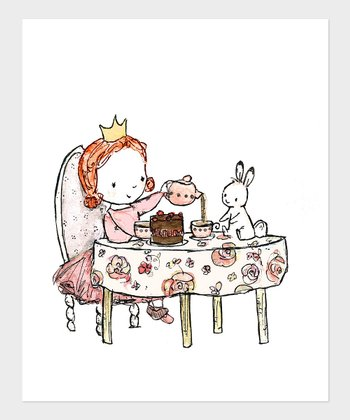 Red-Haired Girl Royal Tea Party Print