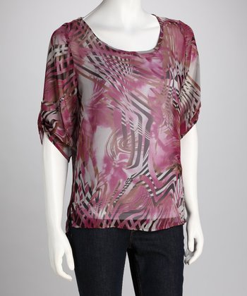 Magenta & Black Sheer Stripe Silk Top