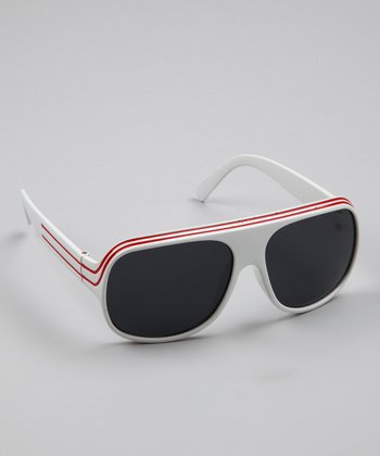White & Red Stripe Sport Pilot Sunglasses