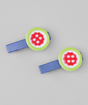 Blue & Green Button Clip Set