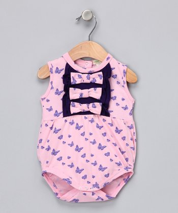 Pink Butterfly Ruffle Organic Bubble Bodysuit - Infant