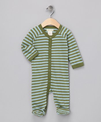 Light Blue & Olive Stripe Organic Footie - Infant