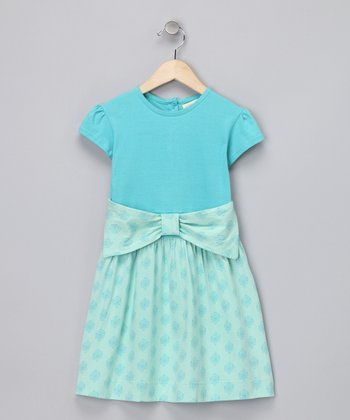 Dark Aqua Bow Organic Dress - Infant, Toddler & Girls