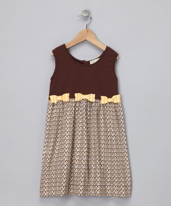 Brown Bow Organic Sleeveless Dress - Infant, Toddler & Girls
