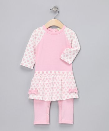 Light Pink Heart Organic Skirted Playsuit - Infant