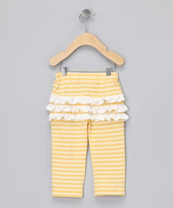 Yellow Organic Ruffle Pants - Girls