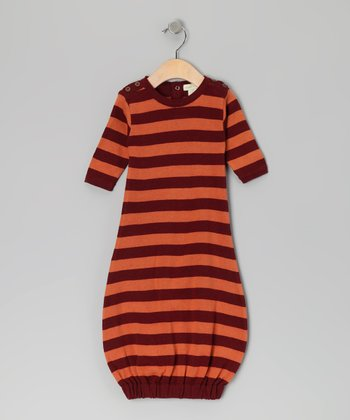 Russet Stripe Button Organic Gown - Infant
