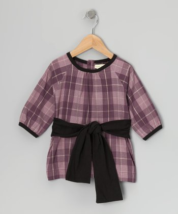 Purple Plaid Gathered Bow Organic Top - Infant