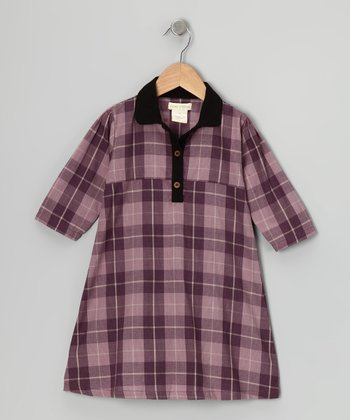 Purple Plaid Organic Shirt Dress - Infant