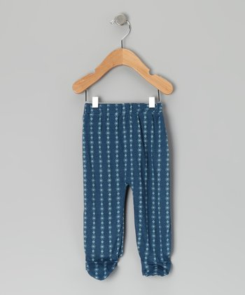Blue Graphic Chain Organic Footie Pants - Infant
