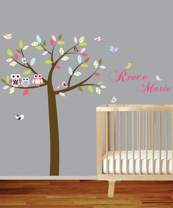 Pink Personalized Tree Wall Decal Set