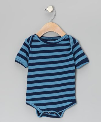Blue & Navy Stripe Thermal Organic Bodysuit - Infant