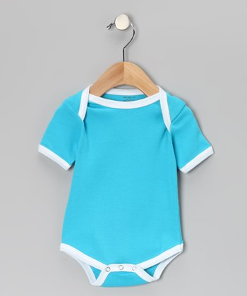 Turquoise & White Organic Bodysuit - Infant