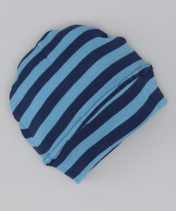 Blue & Navy Stripe Thermal Organic Beanie