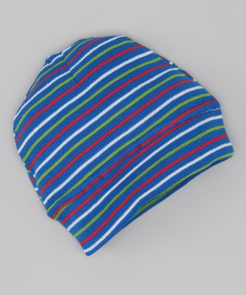 Red & Blue Stripe Thermal Organic Beanie