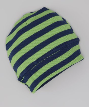 Green & Navy Stripe Thermal Organic Beanie