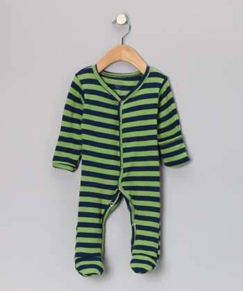 Green & Navy Stripe Thermal Organic Footie