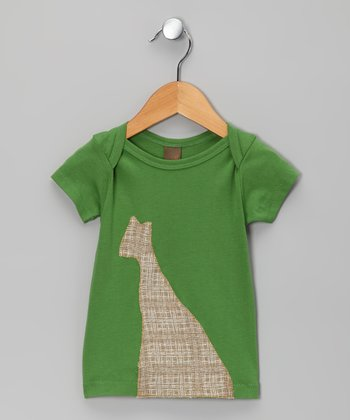 Green Crosshatch Giraffe Organic Tee