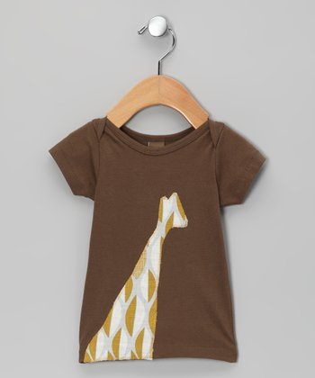 Brown Leaf Giraffe Organic Tee