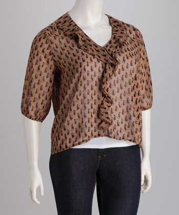Mocha Sheer Cat Plus-Size Top