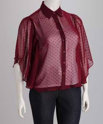 Burgundy Plus-Size Button-Up