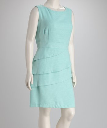 Mint Tiered Plus-Size Sleeveless Dress